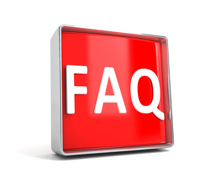 Faq - web button isolated on white background. 3d image renderer
