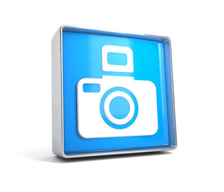 Camera - web button isolated on white background. 3d image renderer Banco de Imagens