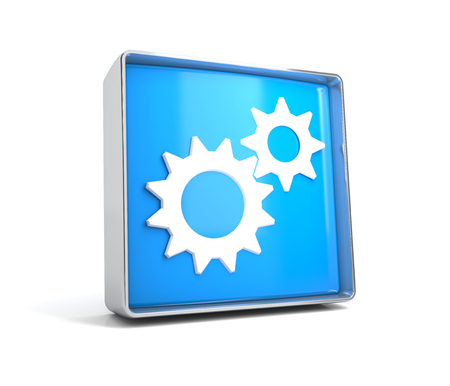 Gear - web button isolated on white background. 3d image renderer