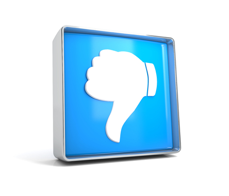 Dislike - web button isolated on white background. 3d image renderer