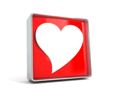 Heart - web button isolated on white background. 3d image renderer