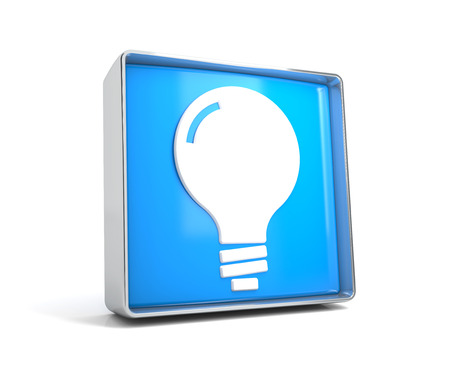 Lamp - web button isolated on white background. 3d image renderer
