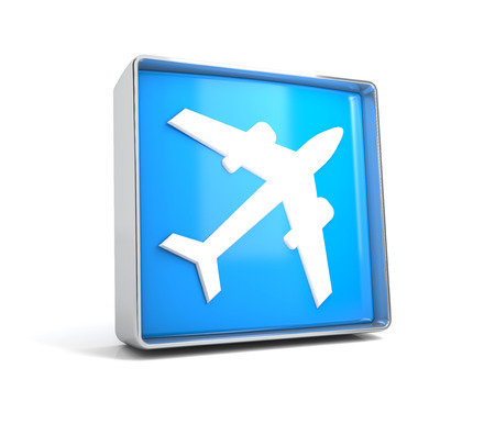Plane - web button isolated on white background. 3d image renderer Stock Photo