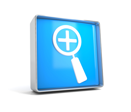 Magnifying glass - web button isolated on white background. 3d image renderer Banco de Imagens