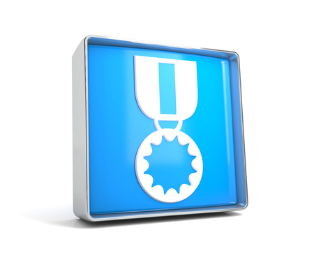 Medal - web button isolated on white background. 3d image renderer