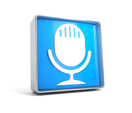 Microphone - web button isolated on white background. 3d image renderer