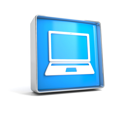 Laptop - web button isolated on white background. 3d image renderer