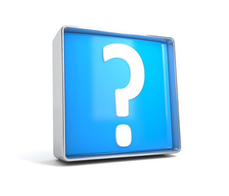 Question mark - web button isolated on white background. 3d image renderer