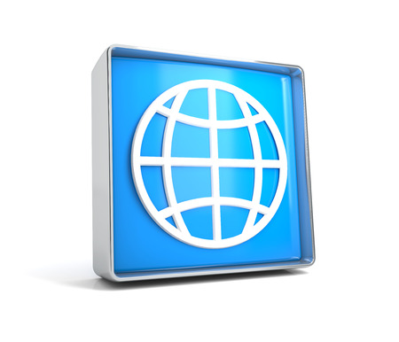 Globe - web button isolated on white background. 3d image renderer