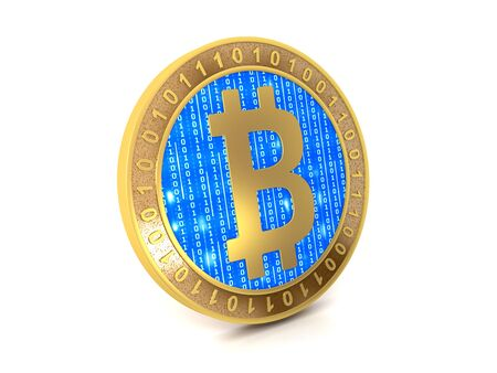 Bitcoin coin cryptocurrency and white background Banco de Imagens