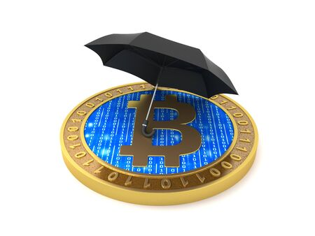 Bitcoin under an umbrella, protection concept