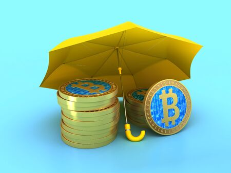 Bitcoin under yellow umbrella, protection concept