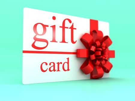 Gift card with red bows and ribbons