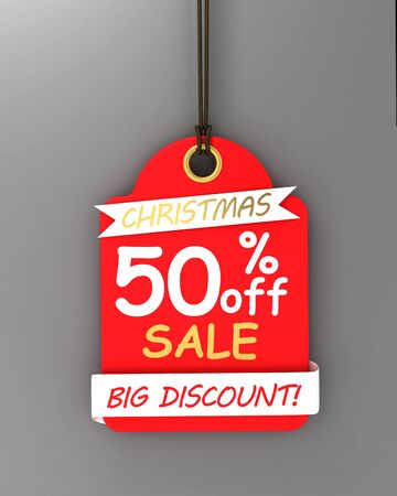 Red Christmas sale paper tags.