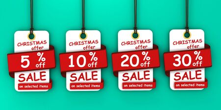 Christmas sale tags set for Christmas season Banco de Imagens