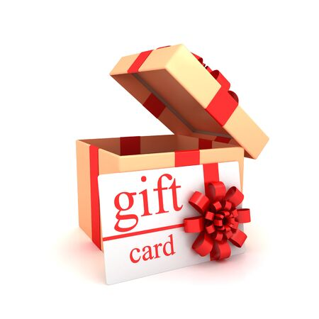 Gift card and open box