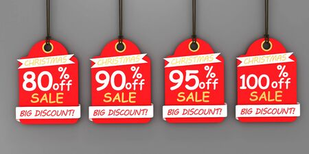 Red Christmas sale paper tags. 3d image renderer