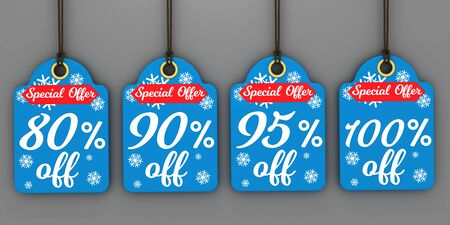 Christmas sale tags set for Christmas season Zdjęcie Seryjne