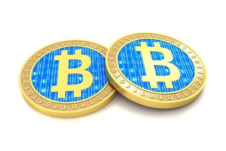 Bitcoin coin cryptocurrency and white background 版權商用圖片