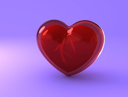 Glassy transparent heart. Concept of fragility of feelings. 3D rendering Stock Photo