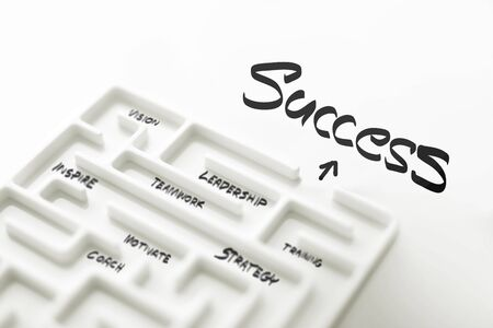 White labyrinth and complex step of success.  focus text success.