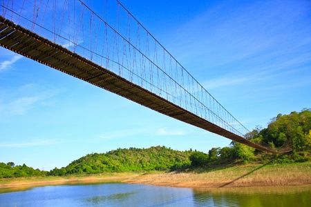 Rope bridge in National Park, Thailand Stock Photo