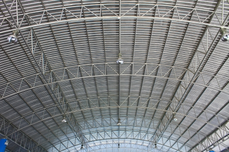 Light on roof of modern storehouse photo