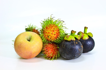 fresh fruit on white background photo