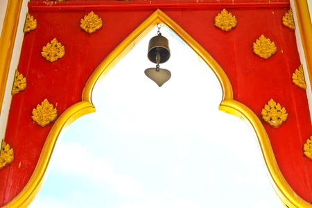 Arches at the entrance of Buddhist temple, Thailand