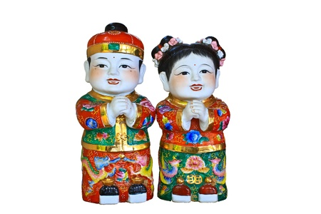 Chinese doll on White background photo