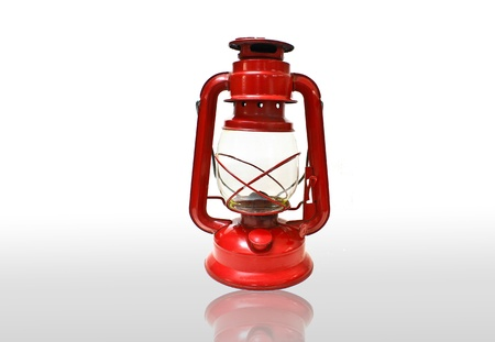 Bright red lantern isolated on white background Stock Photo