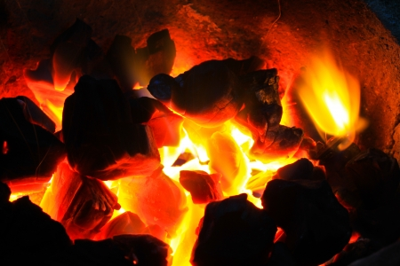 billet: Burning wood in hot stove,  Thailand traditional style of cooking Stock Photo
