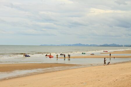 people in a beach, Cha-am beach Phetchburi  Province Thailand photo