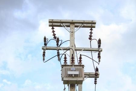 Transformer on high power station. High voltage photo