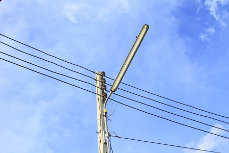 Electricity post with the bluesky photo
