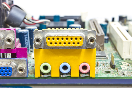 Close up rear panel of computer with audio, usb, ethernet and other connectors photo