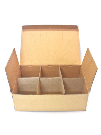 Cardboard box for insert bottles on background photo