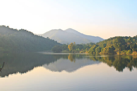 Beautiful mountains and river in morning at Phetchburi Province, Thailand photo