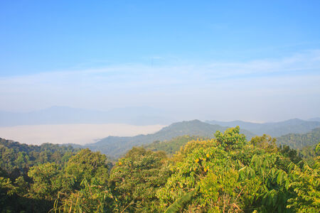 sea of fog with forests as foreground. This place is in the Kaeng Krachan national park, Thailand
