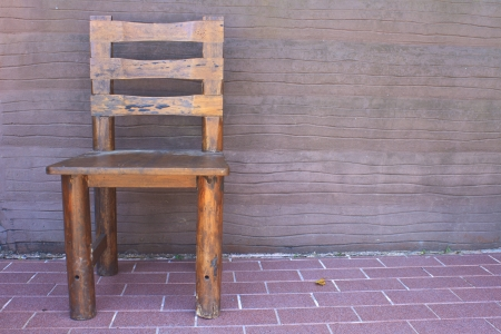 wooden chair standing on the terrace photo