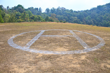 helicopter pad: Helicopter landing pad on mountain