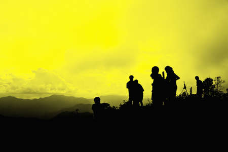 silhouettes on mountain in the national park photo