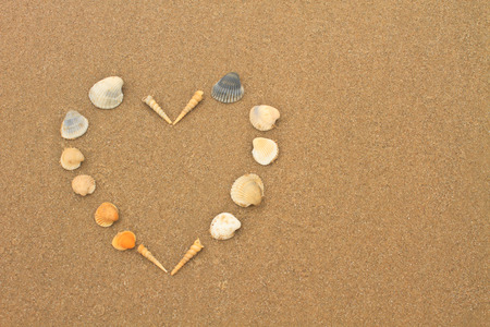 love heart made of shells on beach background concept image