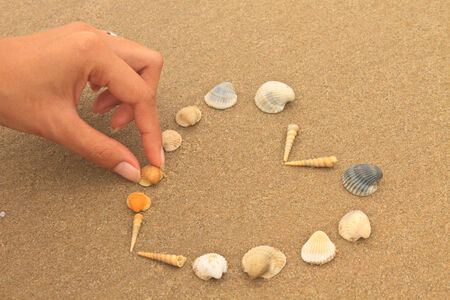 love heart made of shells on beach background concept image photo