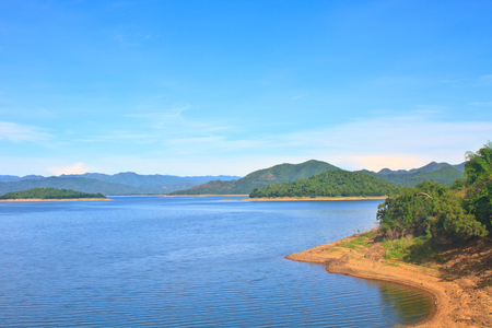 Views over the reservoir Kaengkrachan dam, Phetchaburi Thailand photo