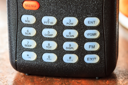 cb phone: close up button of radio communication or radio  transmitter
