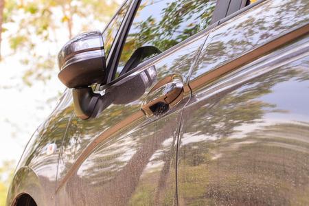 car door lock and handle in park photo