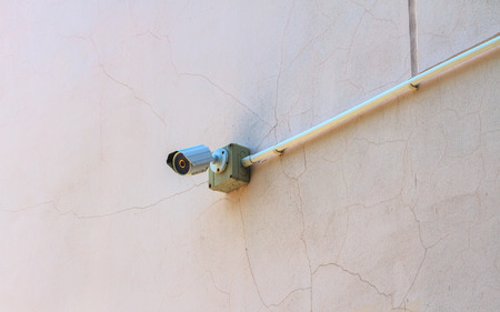 ip camera: CCTV Camera on the white  old wall