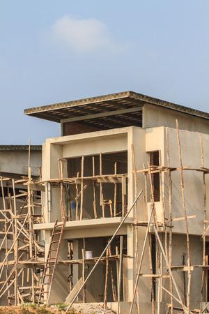 new building construction site, close up detail construction photo