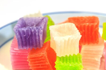 Colorful sweetness jelly in thailand on background photo